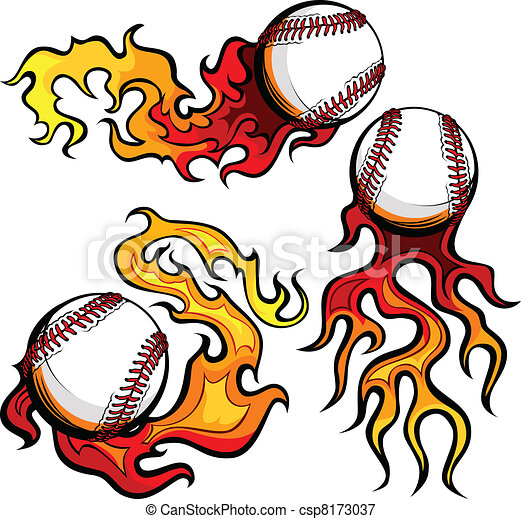 Baseballs with Flames Vector Images - csp8173037