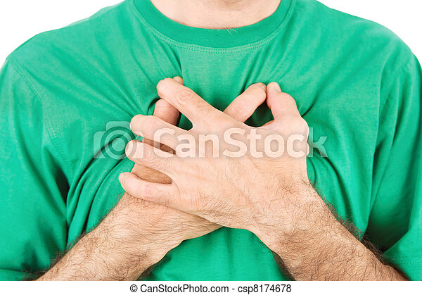 Both man's hands on breast because of hard breathing - csp8174678