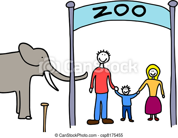Clipart Vector of Family visit to zoo - Happy family ...