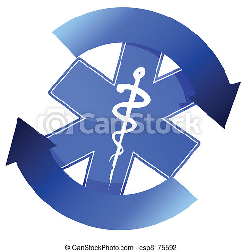 24/7 blue medical symbol cycle - csp8175592