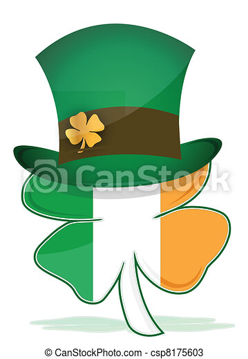 St. Patrick's hat with irish clover - csp8175603