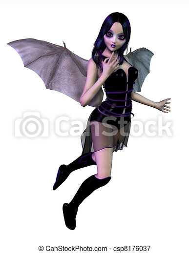 Gothic Fairy with Bat Wings  - csp8176037