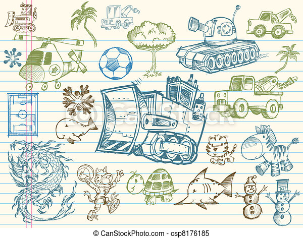 Doodle Sketch Vector Elements set - csp8176185