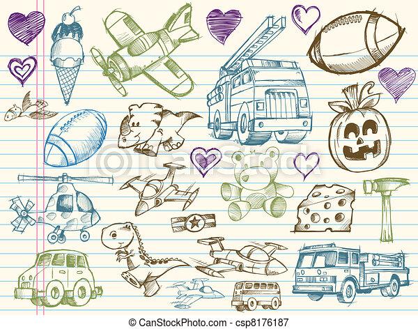 Doodle Sketch Vector Elements set - csp8176187