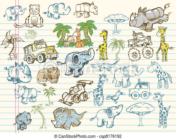 Doodle Sketch Vector Elements Set - csp8176192