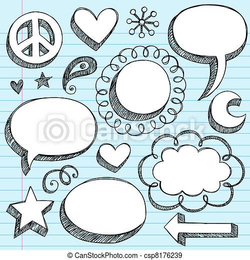 3D Frames Speech Bubbles Doodle Set - csp8176239