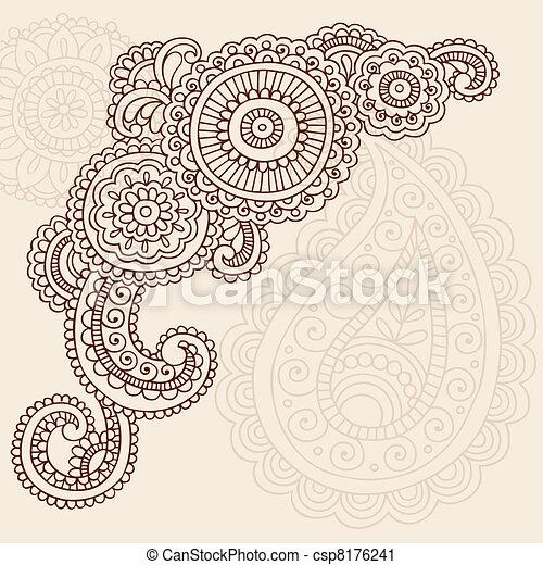 Henna Mehndi Paisley Doodles Vector - csp8176241