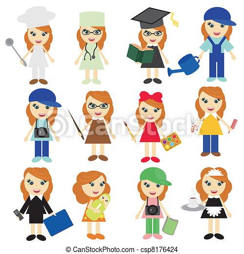 EPS vector de diferente, trabajos, niñas, blanco, Plano de fondo ...
