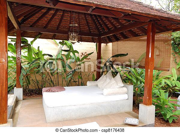 SPA massage bed at  luxury hotel, Bentota, Sri Lanka - csp8176438