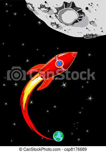 Retro Rocket Spaceship to the Moon - csp8176689