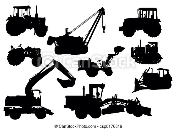 Vector - Tractor silhouettes - csp8176819