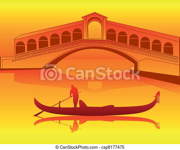 Clipart Vector of Venetian gondola from the Rialto Bridge ...
