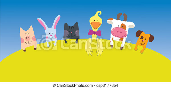 Cartoon farm animals card - csp8177854