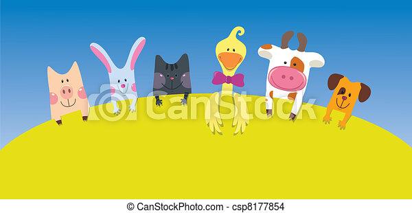 Cartoon farm animals card  - csp8177854