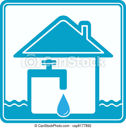 icon with house, water pipe and fau - csp8177892