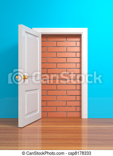 No escape and entrance. Doors laid bricks - csp8178333