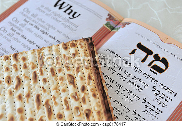 Traditional Jewish Matzo sheets on a Passover Seder table. Passover is a Jewish holiday festival. It commemorates the Exodus from Egypt, in which the ancient Israelites were freed from slavery. - csp8178417