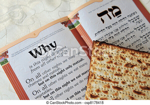 Traditional Jewish Matzo sheet on a Passover Seder table. Passover  is a predominantly Jewish holy day and festival. It commemorates the story of the Exodus, in which the ancient Israelites were freed - csp8178418