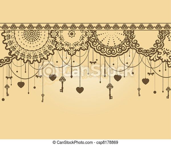 Antique Key tapestry background. - csp8178869