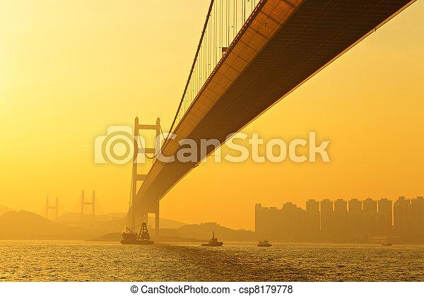 tsing ma bridge in sunset - csp8179778
