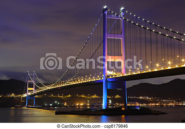 Tsing Ma Bridge in Hong Kong - csp8179846