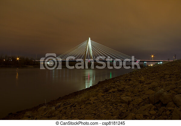 The Christopher S. Bond Bridge in Kansas City at Night - csp8181245