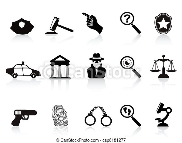 law and crime icons set - csp8181277