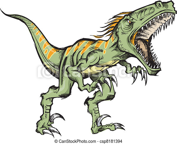 Raptor dinosaur Vector Illustration - csp8181394