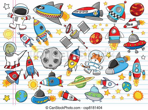 Outer Space Doodle Vector Set - csp8181404