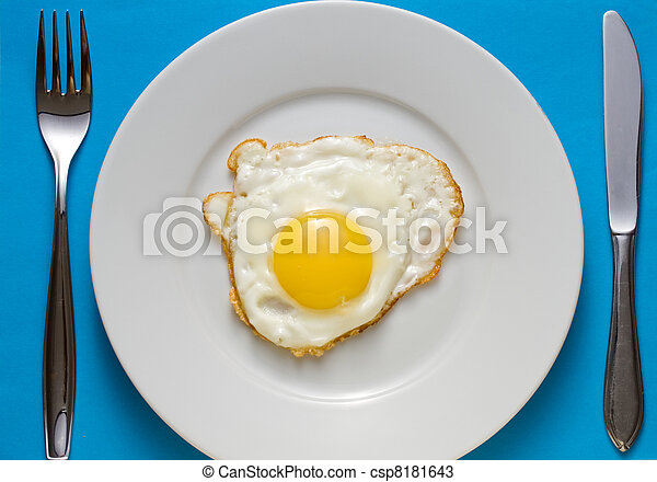 Fried egg on a plate with flatware - csp8181643