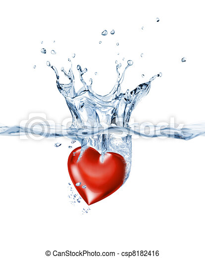 Shining heart, splashing into clear water. - csp8182416