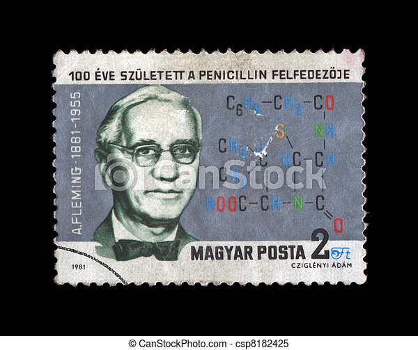 HUNGARY - CIRCA 1981: cancelled grunge stamp printed in Hungary, shows famous medical specialist, penicillin creater A. Fleming (1881-1955) with drug formula, circa 1981. - csp8182425