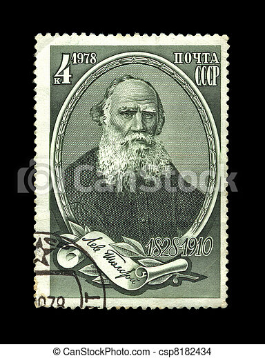 USSR - CIRCA 1978: cancelled stamp printed in the USSR, shows famous russian writer Leo Tolstoy, circa 1978. vintage post stamp on black background. - csp8182434