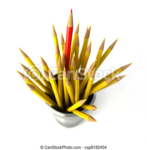 Group of many yellow pencils into a bin, with one red pencil standing out from the mass. - csp8182454