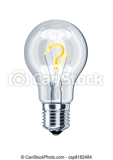 Light bulb with question mark at the place of incandescence. - csp8182484