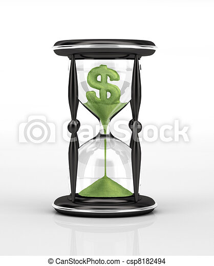Hour glass and green falling sand with the shape of the U.S. Dollar. - csp8182494