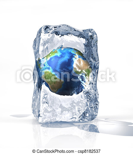 Earth globe into an ice brick standi on a white surface, with some water pool. On white background. - csp8182537