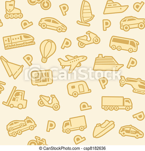 Seamless background, gold transport icons - csp8182636