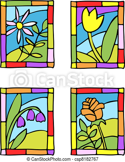 Simple spring flowers. Styled stained glass.  - csp8182767