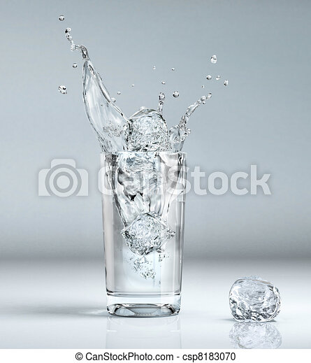 ice cube splashing into a glass full of water - csp8183070
