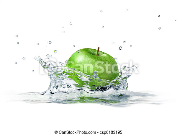 Green apple splashing into water. close up side view, with depth of field. 3 D digital rendering, on white background. - csp8183195
