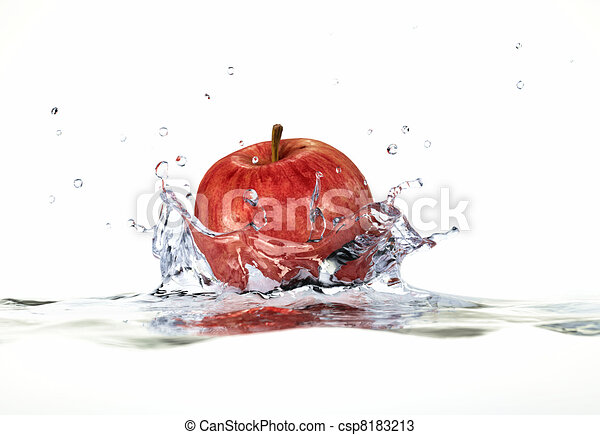 Red apple splashing into water. close up side view, with depth of field. 3 D digital rendering, on white background. - csp8183213
