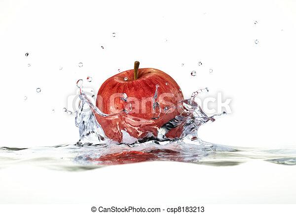 rojo, manzana, salpicar, agua, cierre, Arriba, lado, vista, profundidad, campo, 3, D, digital, interpretación, blanco, Plano de fondo - csp8183213