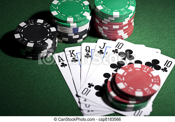 Poker cards and gambling chip - csp8183566