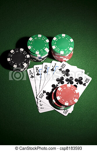 Poker cards and gambling chip - csp8183593