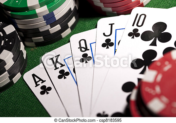 Poker cards and gambling chip - csp8183595