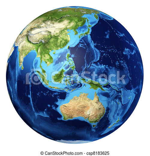 Earth globe, realistic 3 D rendering. Oceania view. - csp8183625