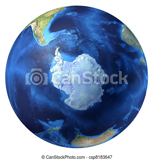 Earth globe, realistic 3 D rendering. Antarctic (south pole) view. On white background. - csp8183647