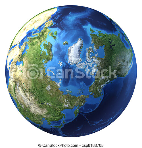 Earth globe, realistic 3 D rendering. Arctic view (North pole). - csp8183705