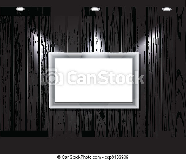 vintage wooden wall with a spot illumination. - csp8183909